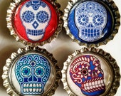 Set of Four Day of the Dead Bottle cap magnets