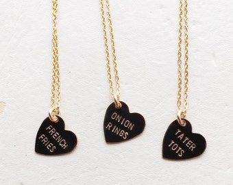 French Fries, Tater Tots & Onion Rings Heart Charm Necklace