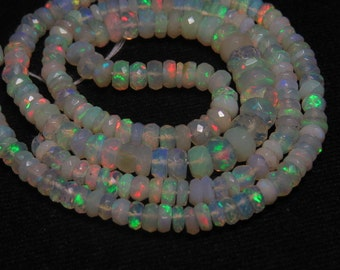 16 inches Super Sparkle -  AAAA -  Beautiful - Welo ETHIOPIAN Opal Micro Faceted Roundel Beads Fully Fire Every Beads Huge Size 3.5 - 6mm