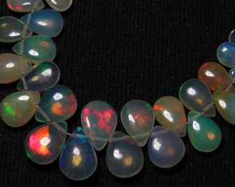 Welo Ethiopian Opal - Smooth Polished Pear shape Briolletes Full Colour Full flashy Fire size - 5 - 9 mm Long - 31 Pcs