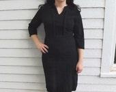 1960s Black Dress Vintage 60s Kay Windsor Acrylic Wool L 30 Waist