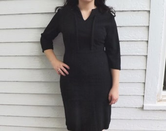 1960s Black Dress Vintage 60s Kay Windsor Acrylic Wool L 30 Waist