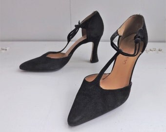 Black T Strap Pointed Toe High Heels Sacha Too Shoes 5 B Spain