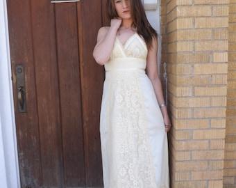 Gunne Sax Ivory Lace Dress 70s Vintage Open Back Maxi XS Matching Jacket