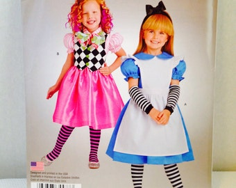 Uncut, Alice in Wonderland Costume Mad Hatter Halloween Sewing Pattern, Simplicity S0979 Size 3 4 5 6 7 8