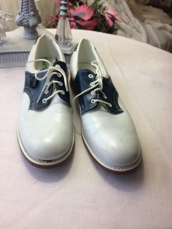 beautiful blue and white saddle shoes