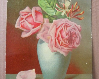 Antique Lithograph, color print, vintage pink roses in vase, Roses art print to frame
