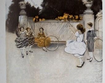Victorian Children Art, Book Illustrations 1902,  Anna Whelan Betts, Book Plates,  Victorian Girls at Play