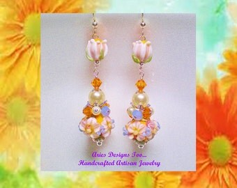 Orange,Blue and Cream Floral Lampwork Earrings,Long Beaded Floral Lampwork Earrings in Orange, Cream and Blue