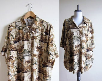 Vintage 1990s Silk Blouse / Wild Cat Leopard Print Shirt Tunic / Size Extra Large / Plus Size / Size 18