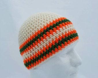 Men's crochet beanie, man beanie, grey beanie, grey crochet hat, olive green, reflective hat, high visibility beanie, vegan friendly