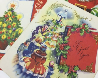 2 vintage folded Christmas cards - NEW - mid-century cards, not written on