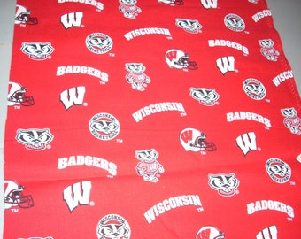University of Wisconsin Badgers -  Cotton Fabric - 14.5 inches wide and sold by the yard
