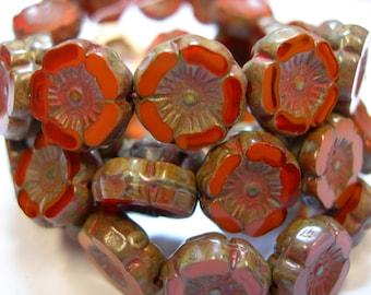 12 beads -Orange Opal Czech Glass Flower Beads 12mm