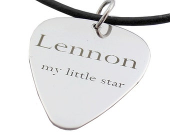 Personalised mens neckless Customize Guitar Pick Necklace Personalized  Pendant Music Gift