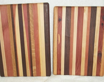 Handmade Multi-Wood Rectangle Cutting Board