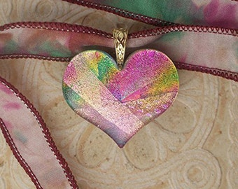 Dichroic Glass Heart Necklace, Pink, Gold, Green DGP 093