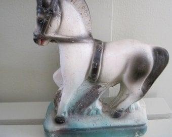 Vintage Chalkware Horse Carnival Prize in vintage colors teal and black 50s