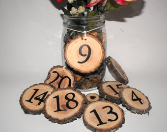 Hanging Table Numbers ~ Wood Table Numbers ~ Rustic Wedding ~ Wedding Table Numbers ~ Woodland Wedding ~ Wooden Rustic Table numbers