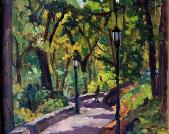 Shady Path near the Cloisters, Fort Tryon Park, NYC. Impressionist Oil Painting Landscape, Original 10x10 Framed Signed Original Fine Art