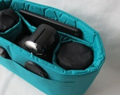 Turquoise Camera Bag Insert - IN STOCK - 5X11X7