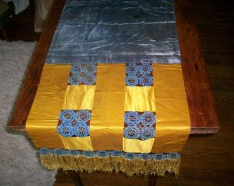 Antique silk runner doily 1910 mustard/blue fringe passementerie