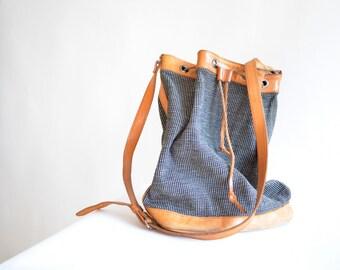 Vintage 1980s LEATHER and tweed wool bucket bag