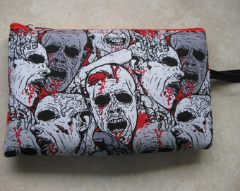 zombie faces print large padded bag