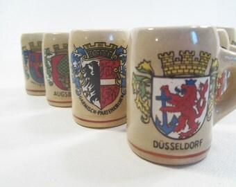 10 Vintage Mini Beer Mugs Lego Japan German Shields Crests Stoneware