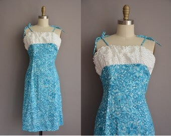 50s eyelet cotton blue print vintage wiggle dress / vintage 1950s dress
