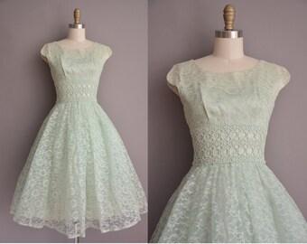 50s celery green lace full skirt cupcake vintage party dress / vintage 1950s dress