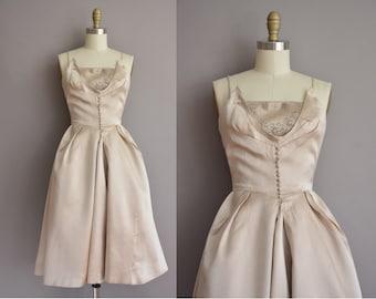 50s beaded satin vintage cocktail party dress / vintage 1950s dress