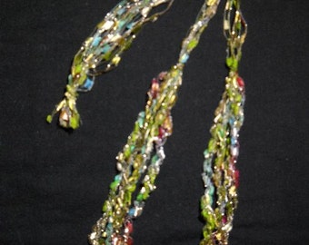 Ladder Necklace, Trellis Necklace / Crochet Necklace, Green, blue, maroon and silver