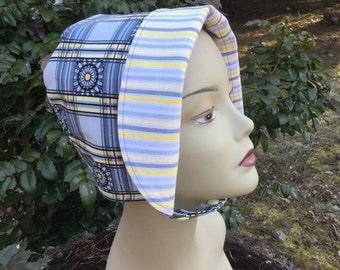 Summer Bonnet, Toddler Sun Hat, Bonnet, Sun Hat, Reversible Bonnet, Stripe Hat, Chin Strap Hat Reversible, Easter Bonnet, Beash Bonnet