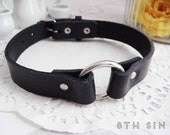 Black Leather O Ring Choker, Black O Choker, Black Leather Choker, Leather O Choker, Black O Ring Choker, Black Circle Choker, BDSM Collar