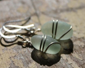 Genuine Sea Glass Earrings - Vintage Sea Foam Blue Sea Glass Earrings