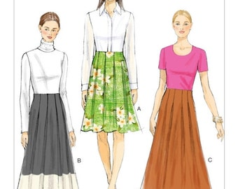 ON SALE Sz 6/8/10/12/14 - Vogue Skirt Pattern V9061 - Misses' Box Pleated, Raised-Waist Skirts in Three Options - Very Easy Vogue Patterns