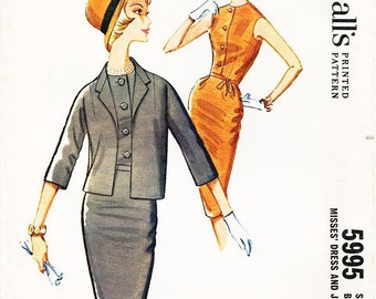 Vintage 1960s Dress Pattern - McCall's 5995 -  Misses' Fitted Sleeveless Wiggle Dress & Three-Quarter Sleeve Jacket - SZ 14/Bust 34