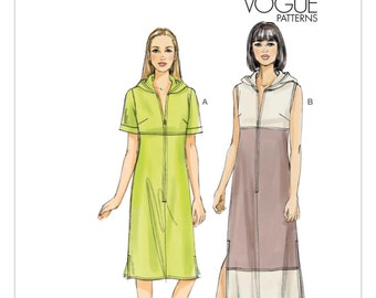 Sz 6/8/10/12/14 - Vogue Dress Pattern V8806 - Misses' Hooded Zip Front Dress in Two Options - Very Easy Vogue Pattern