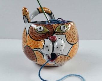 Ceramic Yarn Bowl - Cat Face Yarn Bowl - Pottery Bowl - Clay - Majolica - String Holder - Calico Cat - Knitting Bowl - Crochet Bowl - Orange