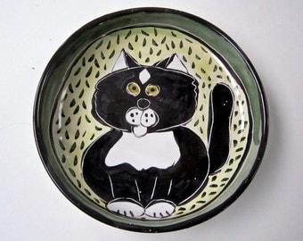 Tuxedo Cat Ceramic Feeding Dish Bowl Black White Clay Pottery Majolica Handmade on Green