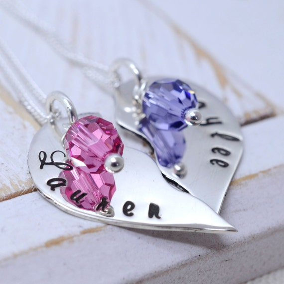 BFF Broken Heart Necklace Set - Best Friends Jewelry - Birthstone Necklaces - Personalized Sister Jewelry - Girly Gifts for Kids and Teens