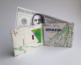 Origami Map Wallet - Folded Paper Los Angeles 1980 Bus Map - Fun Novelty Gift - Bifold Money and Credit Card Holder - LA Lovers Present