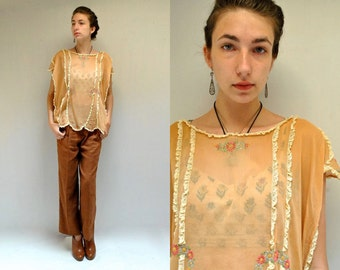20s Embroidered Blouse   //  Antique Cotton Top  //  ICED SHERBERT