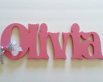 Wooden letter name sign, storybook font, custom painted, choice of colors, up to 6 letters, price per letter, kids rooms, nursery decor