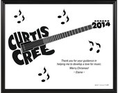 Personalized Electric Guitar Silhouette Print, Framed 8x10 Music Themed Typeography Art, Gift for Musician