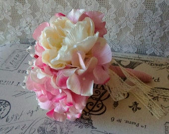 Bridal Bouquet, Bridesmaid, Junior Bride, Pink Bouquet, Shabby chic style Wedding, Summer Vintage wedding, Silk Flower Bouquet