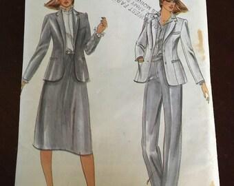 Butterick 3632 UNCUT vintage pattern misses jacket skirt and pants size 12