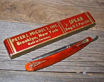Antique SPEAR Straight Razor Knife w/ Box / Germany