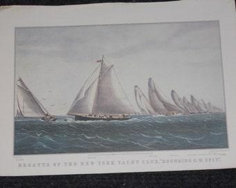 "Vintage Currier & Ives Calendar Print-""Regatta of the New York Yacht Club-1965"